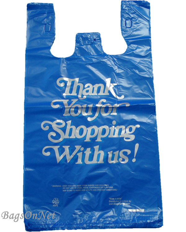 Large Blue Thank You Printed Strong Plastic Shopping Bags - Bulk ...
