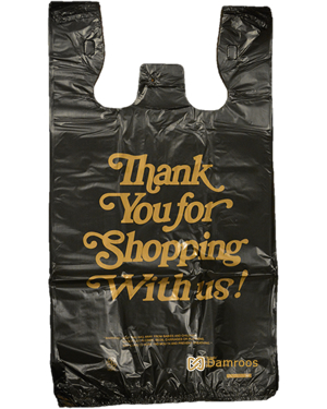 Small Size - 8x4x15 Inch - Black Gold Thank you Printed Plastic ...