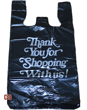 Large Black Thank You Printed Strong Plastic Shopping Bags