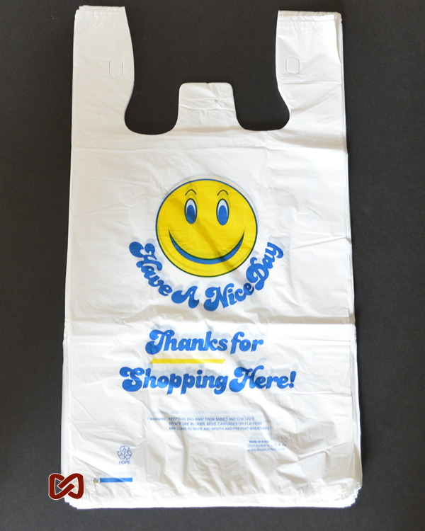 Large White Smiley Face Printed Strong Plastic Shopping