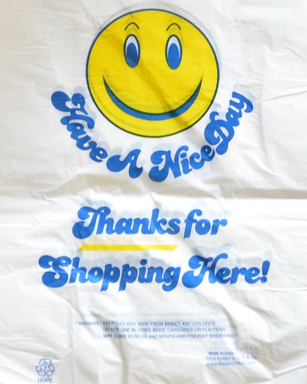 Large White Smiley Face Printed Strong Plastic Shopping Bags ...