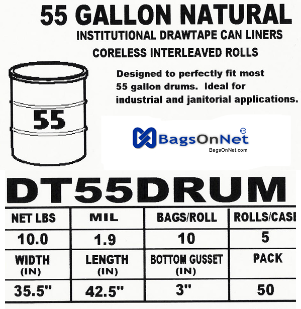 55 Gallon Drum Liners Clear : Gallon draw tape drum liners lldpe size