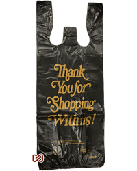 Two Bottle Black Thank you Plastic Shopping Bags
