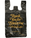 Small Black Thank you Plastic Shopping Bags