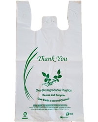 Large  Oxo-Biodegradable White Shopping Bags