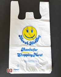 "Large, White, Smiley,12""Wx6""Dx22""H, Shopping Bags"