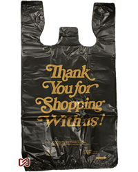 Black Thank you Plastic Shopping Bags - Strong